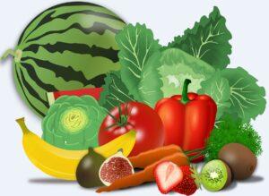 εικόνα με φρούτα και λαχανικά που βοηθούν στην ανακούφιση από πονοκεφάλους και ημικρανία που αναφέρονται στον Δωρεάν οδηγό